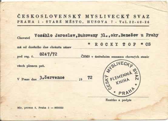 Datum regstrace chovatelské stanice ROCKY TOP