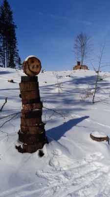 15.2.2021 dřevulák pod Eliškou - postavit ho se zadařilo i za třeskutých mrazů