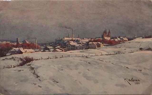 V adventním čase, byť bez sněhu, se vydávám do Kolína. - (historická pohlednice)