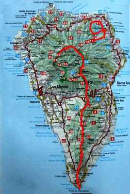 Ostrov La Palma, absolvoval jsem červeně značenou část hřebene a dva výlety na SV ostrova...
