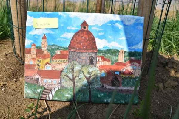Nádherná maľba kráľovského mesta Skalica a v popredí Rotunda.