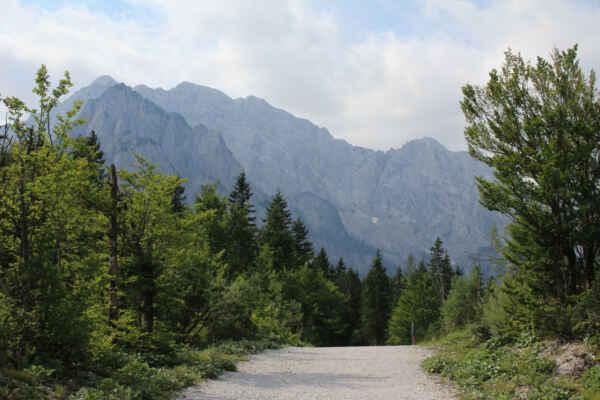 Údolí Planica, cesta k chatě Tamar.